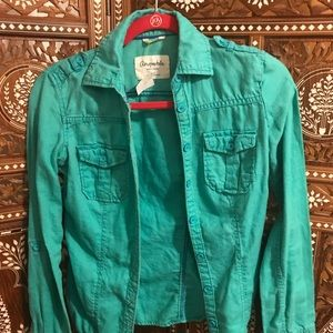 Aeropostale long sleeve button up shirt in teal
